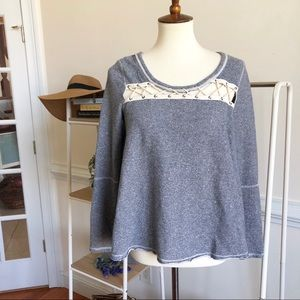 Free People lace front sweater top XS oversized